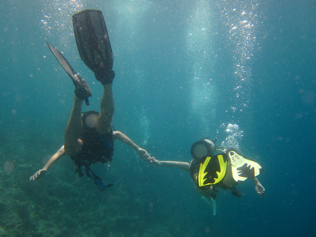Holding Hands While Diving around Menjangan Island - Bali, Indonesia
