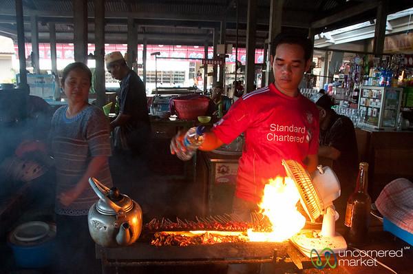 Grilling Satay Beef at the Market - Bali