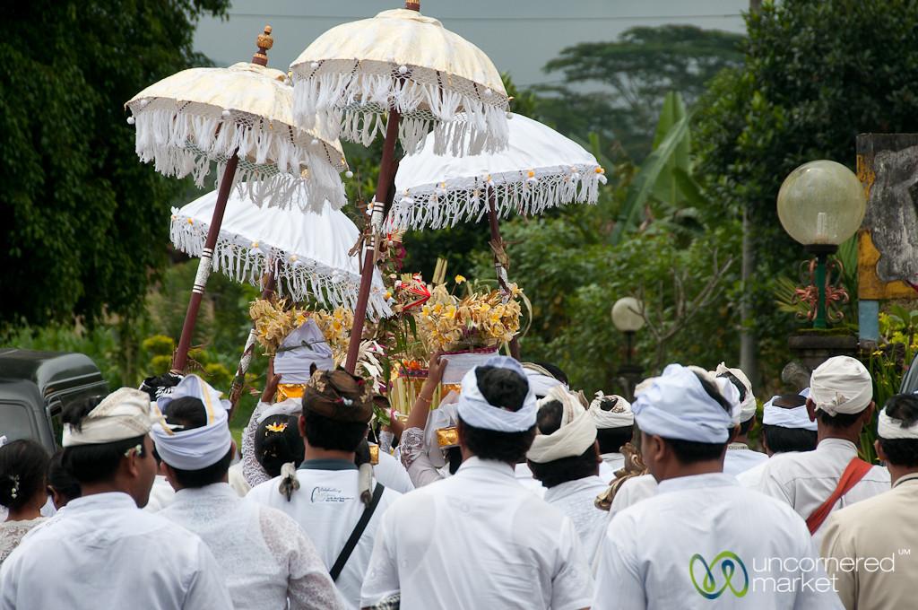 Funeral Procession in White - Bali, Indonesia