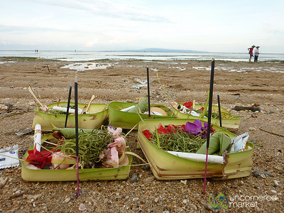 Balinese Offerings at Sanur Beach - Bali, Indonesia