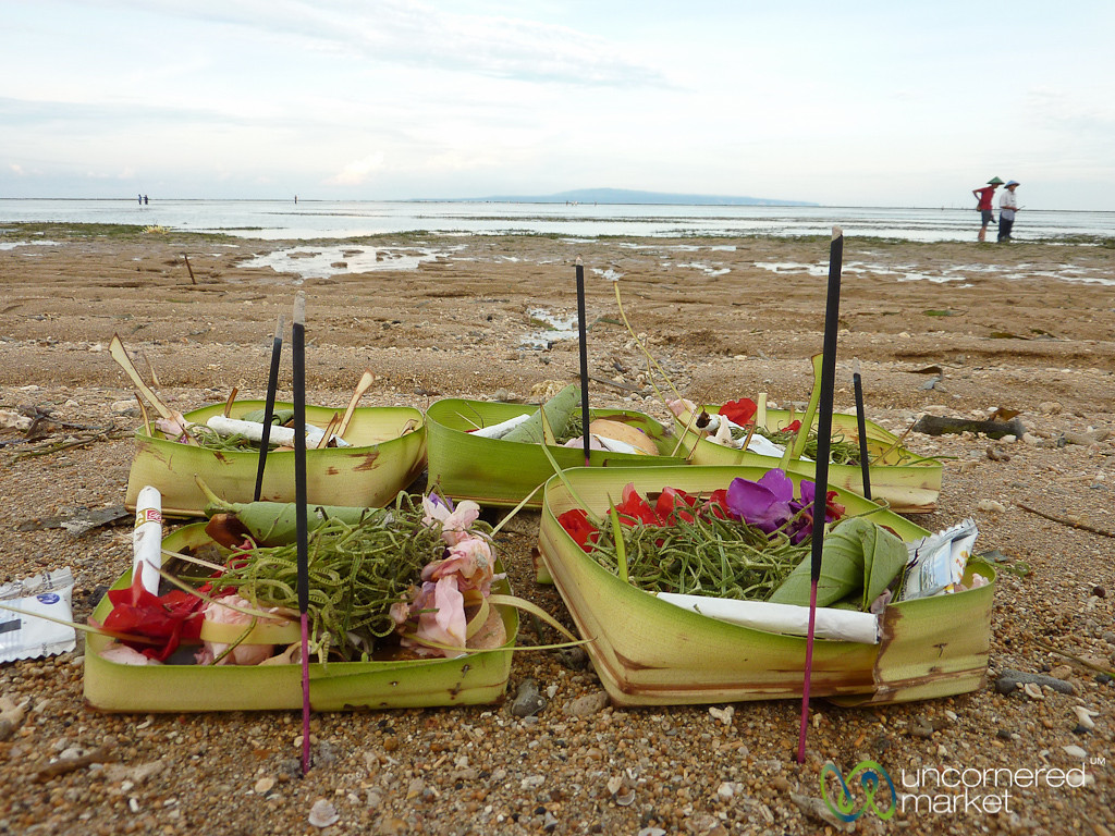 Balinese Offerings at Sanur Beach - Bali, Indonesia