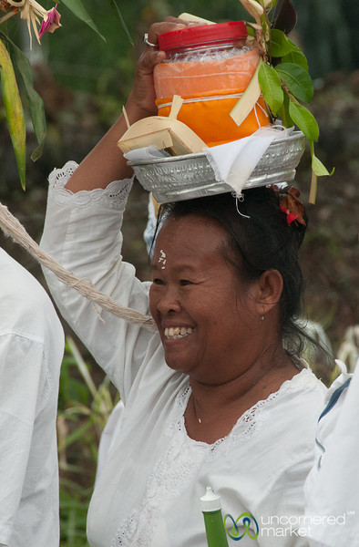 Joyfully Carrying Offerings to Besakih Temple - Bali, Indonesia