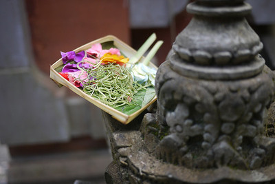 Offering on Statue in Bali