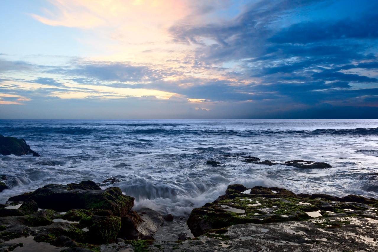 Rocky coast. Sunset