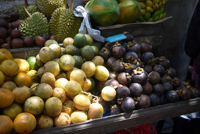 Fruit - magosteen!) at the market in Ubud, Bali Indonesia