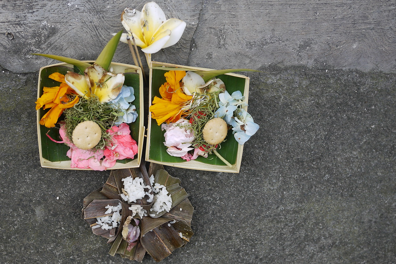the Balinese make a ritual of leaving these little rafts of food, flowers and incense
