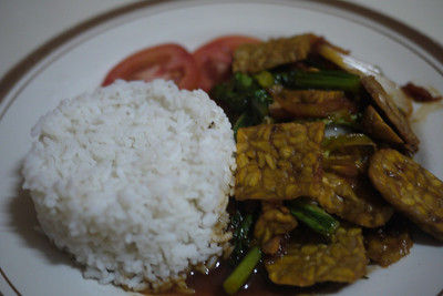 Bali Vegetarian food! Tempeh and rice