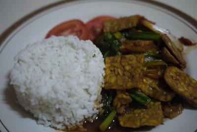 Bali Vegetarian food! Tempeh and rice