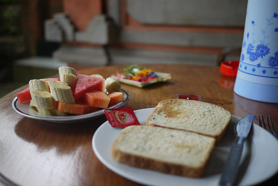 My daily breakfast at my guesthouse in Bali, Indonesia.