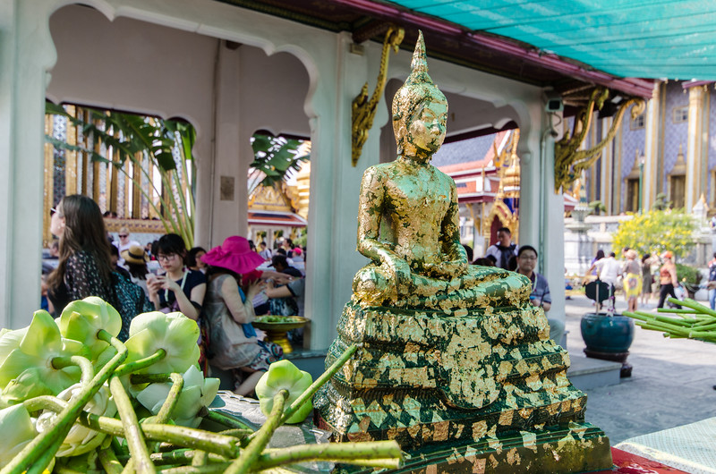 Flower and Gold Leaf offerings at the Grand Palace.