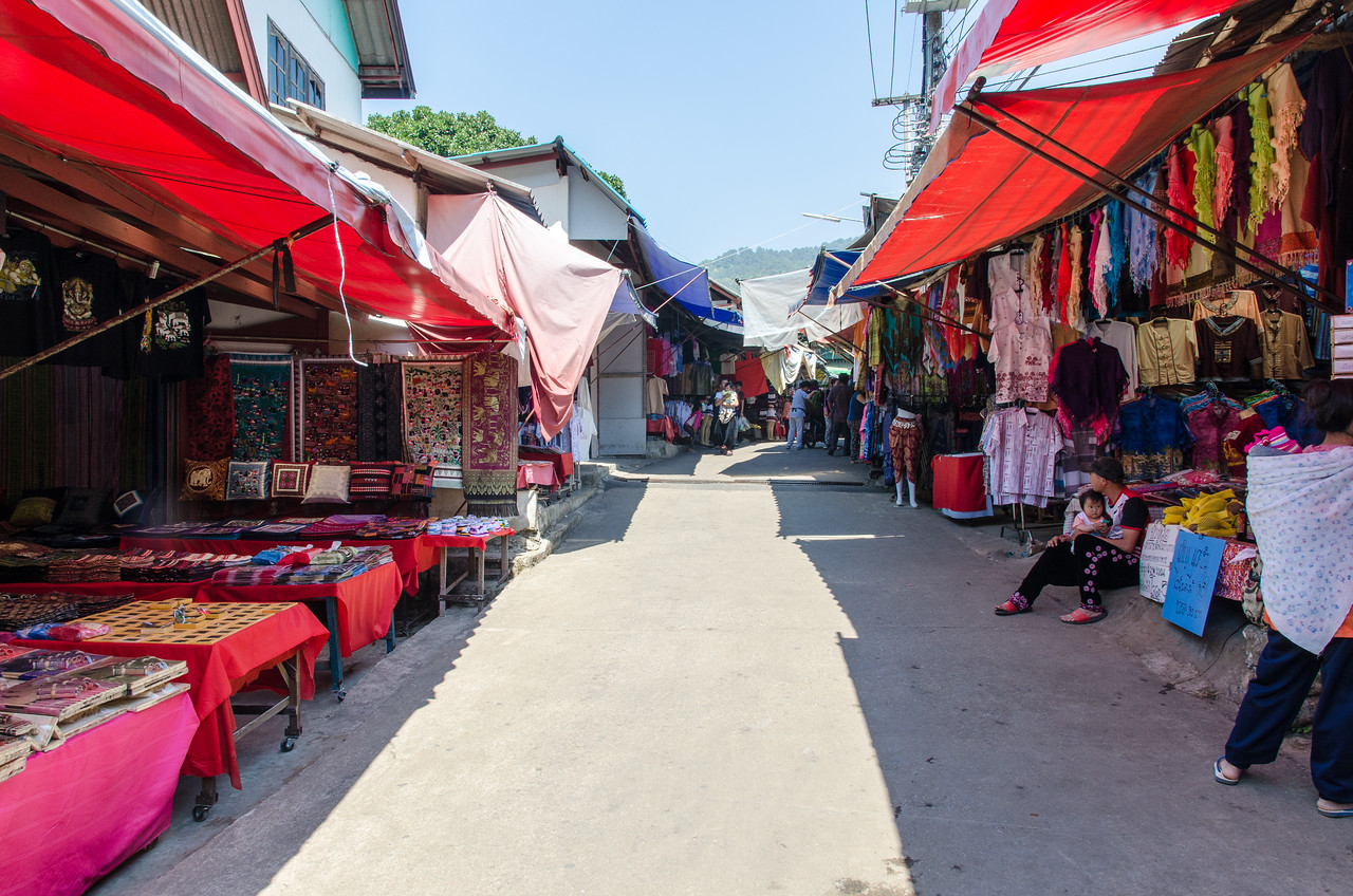 A lane with shops in Doi Pui village.