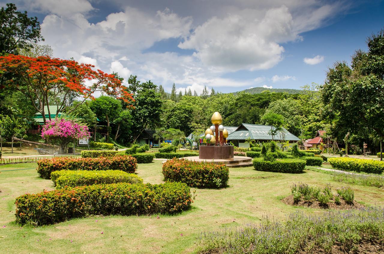 Beautiful Gardens at Sankampaeng Hot Springs.