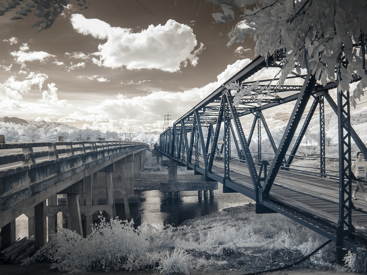 The old and new Ta-Pai bridges. Shot in infrared.
