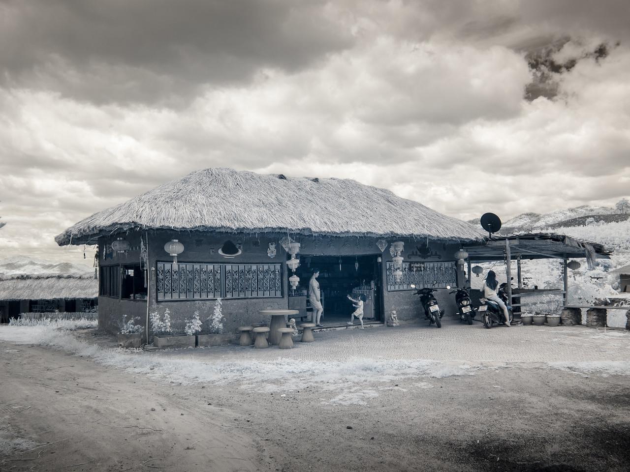 Shop in Santichon village. Shot in infrared.