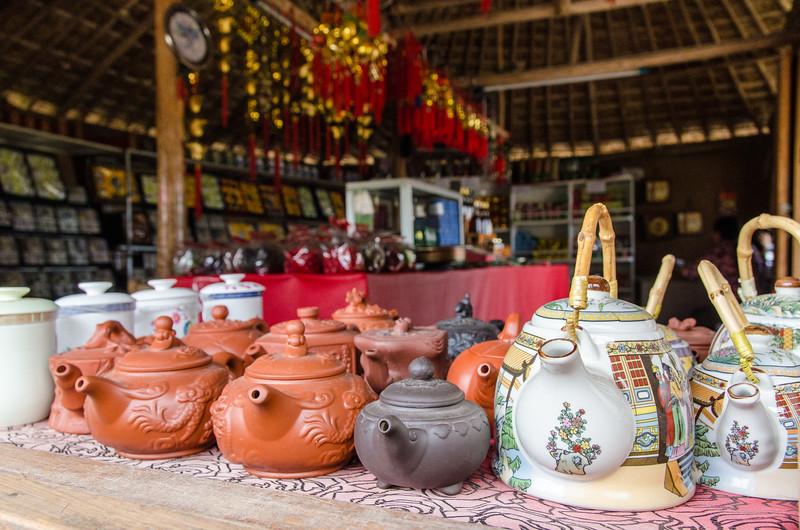 Teapots in a shop in Santichon village.