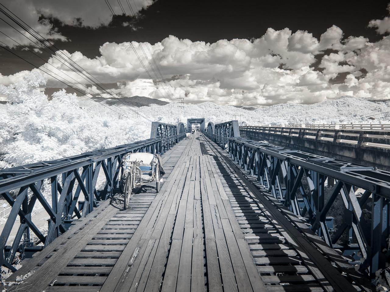 Ta-Pai bridge and tri-shaw. Infrared.