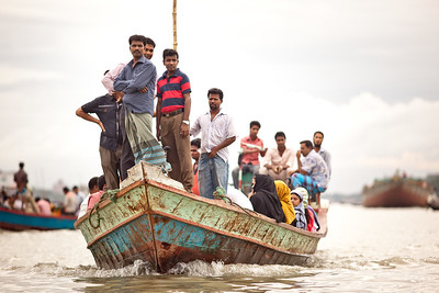 Crowed commuter boat in Dhaka, Bangladesh