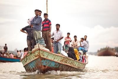 Crowed commuter boat in Dhaka, Bangladesh