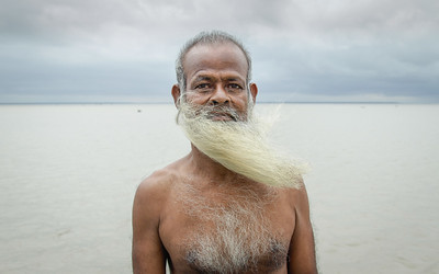 Sailor with long beard in the wind in Bangladesh