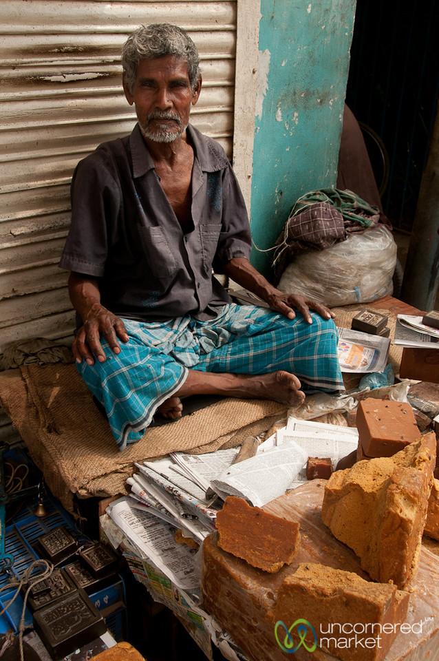 Palm Sugar Vendor at Market - Rajshahi, Bangladesh