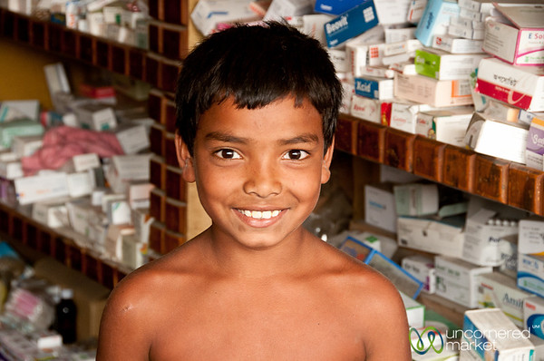 Young Bangladeshi Boy at Pharmacy - Rajshahi, Bangladesh