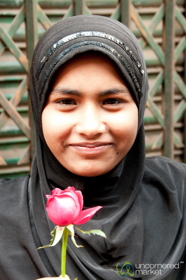 Young Muslim Woman with Red Rose - Old Dhaka, Bangladesh