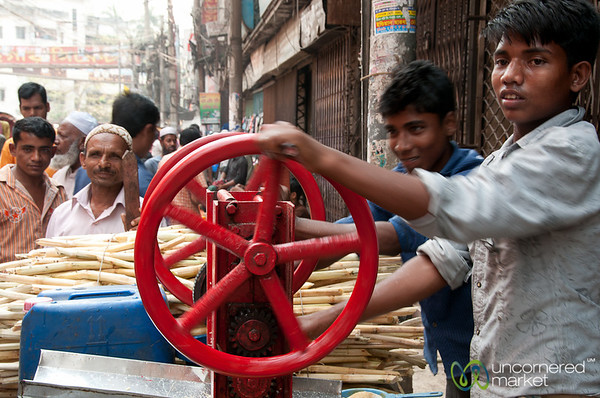 Hard Work at Sugar Cane Juice Stall - Old Dhaka, Bangladesh