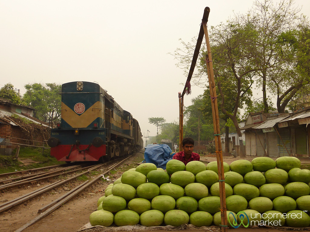 Watermelon Stand on the Train Tracks - Joypurhat, Bangladesh