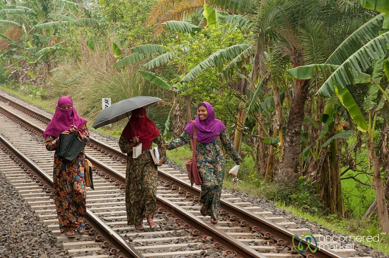 Bangladeshi Muslim Women Walking on Railroad Tracks - Rural Bangladesh