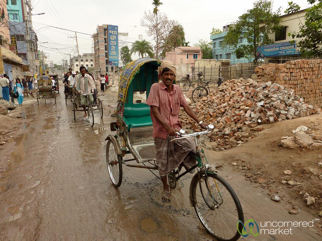 Bicycle Rickshaw on Streets of Rajshahi, Bangladesh