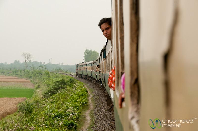 Man Looking Out from Train - Khulna to Rajshahi, Bangladesh