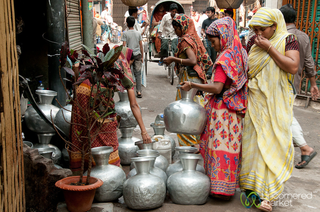 Women Collecting Water at Public Water Pump in Old Dhaka, Bangladesh