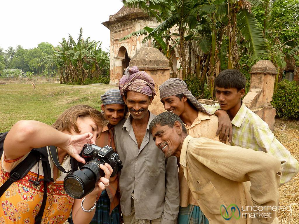 Audrey Shows Photos to Workers - Puthia, Bangladesh
