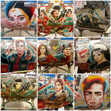 Bollywood Rickshaw Art in Rajshahi, Bangladesh