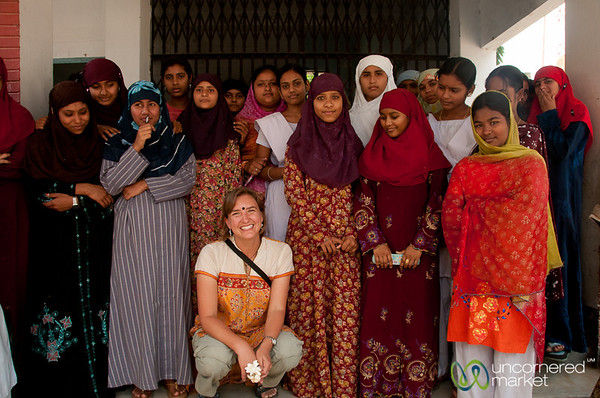 Audrey with Female College Students - Hatiandha, Bangladesh