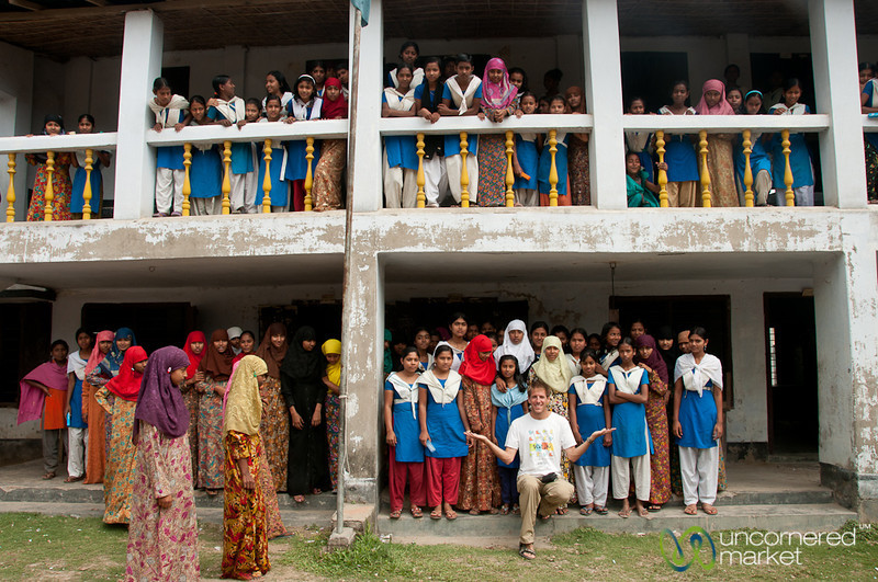 Dan with Female Students at School - Hatiandha, Bangladesh