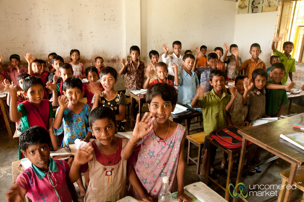 Young Students Waiving to Us - Nalbata, Bangladesh