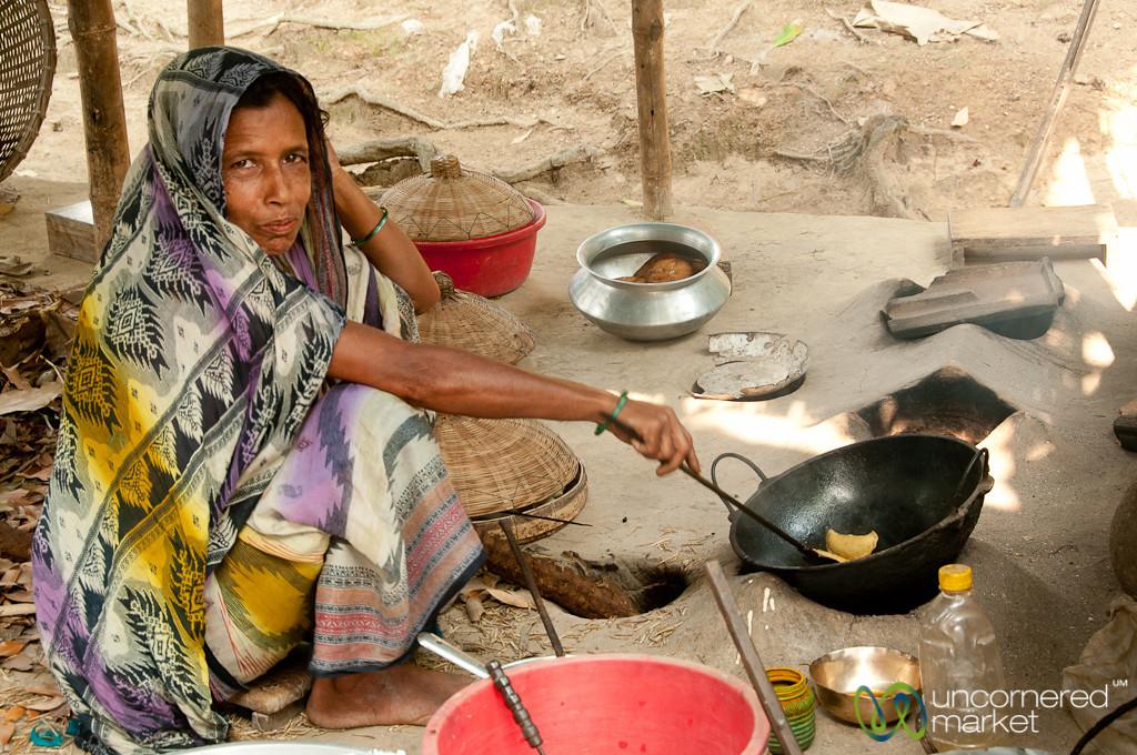 Woman Fries Up Afternoon Snacks - Acholcot, Bangladesh