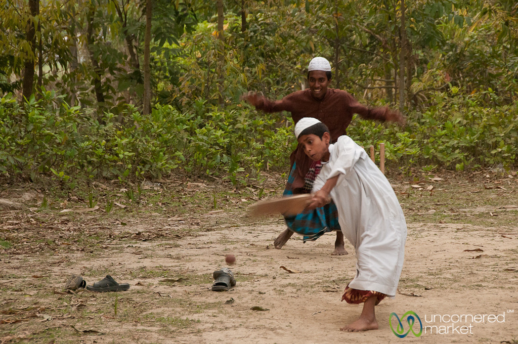 Boys Playing Cricket in Hatiandha, Bangladesh