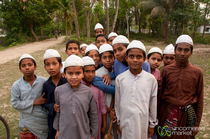 Group of Boys in White Taqiyahs (Muslim Hat) - Hatiandha, Bangladesh