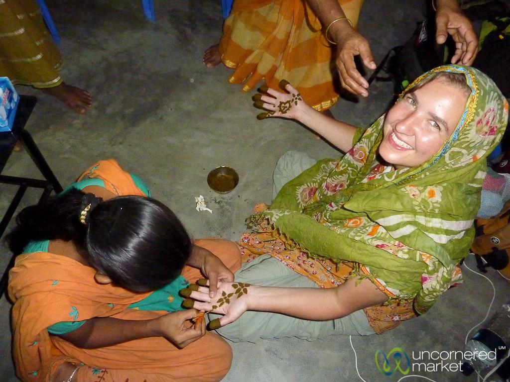 Audrey Gets Mehndi (Henna) Decoration on Hands - Hatiandha, Bangladesh