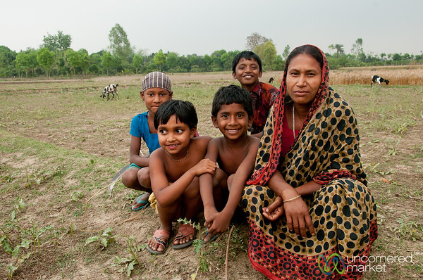 Mother with her Children in Fields - Hatiandha, Bangladesh