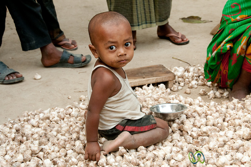 Baby Boy Sitting on Garlic - Hatiandha, Bangladesh