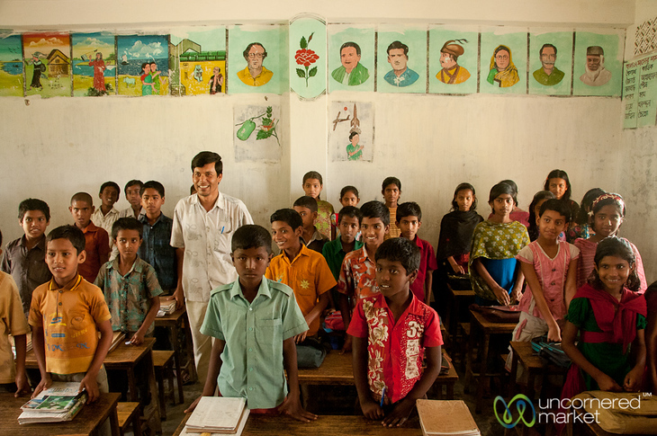 Teacher with Classroom of Young Students - Nalbata, Bangladesh
