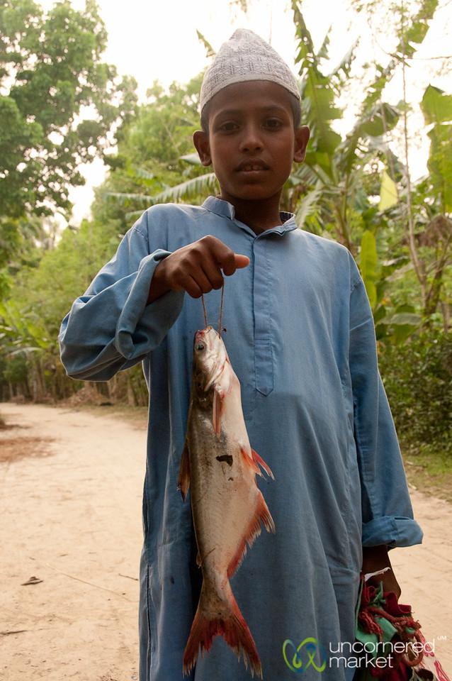Boy with Freshly Caught Fish - Hatiandha, Bangladesh