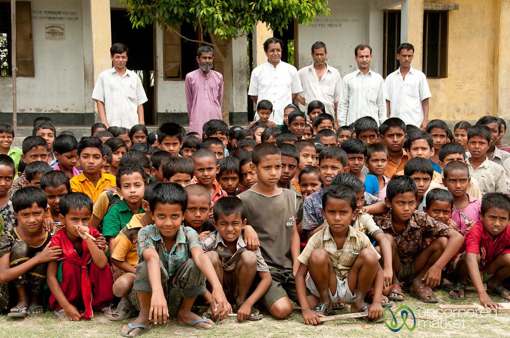 Students Lined up at School in Nalbata, Bangladesh