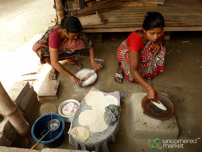Rolling Out and Cooking Roti for Breakfast - Hatiandha, Bangladesh