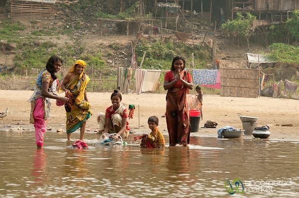Women Bathing and Washing in Shangu River - Bandarban, Bangladesh