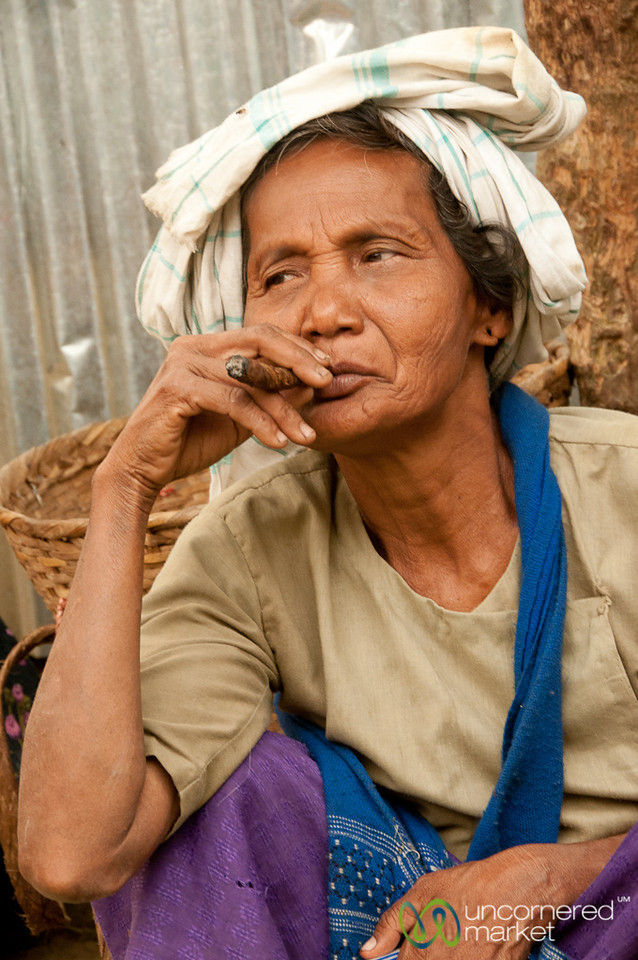 Older Marma Woman with Cigar - Bandarban, Bangladesh