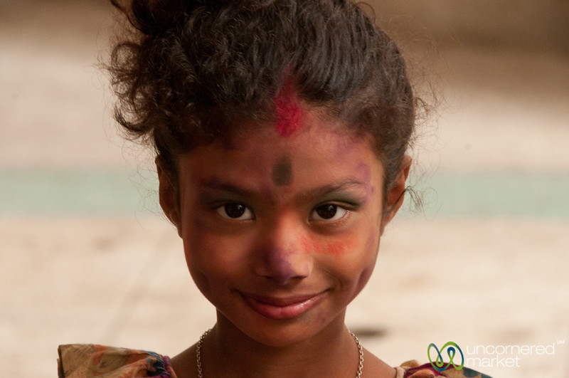 Young Girl All Colored Up for Holi Celebrations - Dhaka, Bangladesh